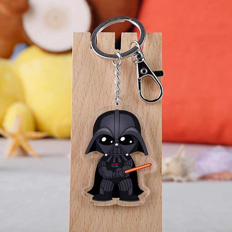 Filme Star Wars Keychain Acrílico Que A Força Esteja Com Você cavaleiro Jedi Luke Skywalker detentor da Chave Do Carro Cadeia Pingentes chaveiros