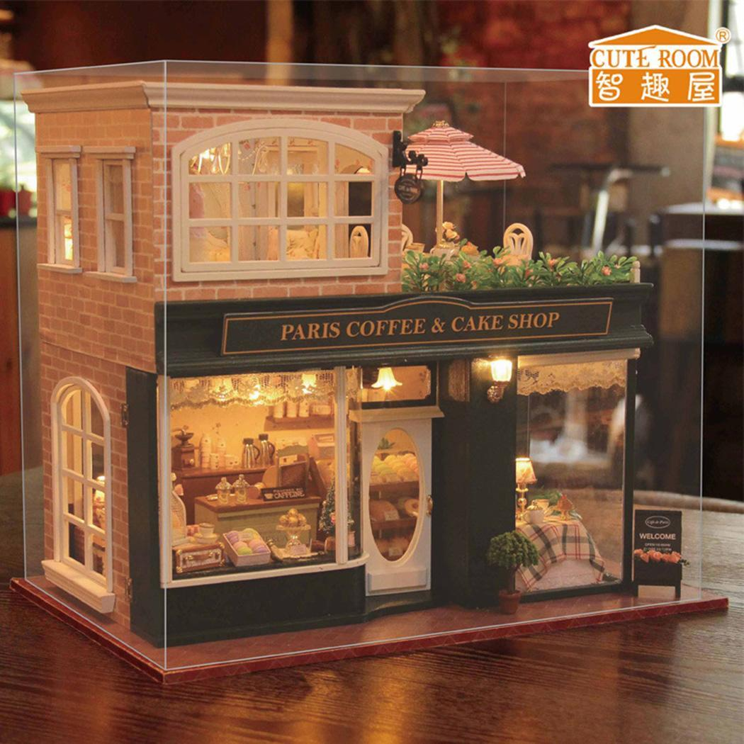 DIY Wooden House Toy Wooden Miniature Hand-assembled Wooden coffee shop doll house with LED lights and musicDIY Wooden House Toy Wooden Miniature Hand-assembled Wooden coffee shop doll house with LED lights and music