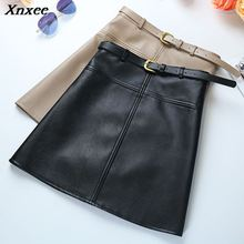 Xnxee Winter A-Line PU Leather Skirt For Women High Waist Office Wear Skirts Plus Size Female with Belt