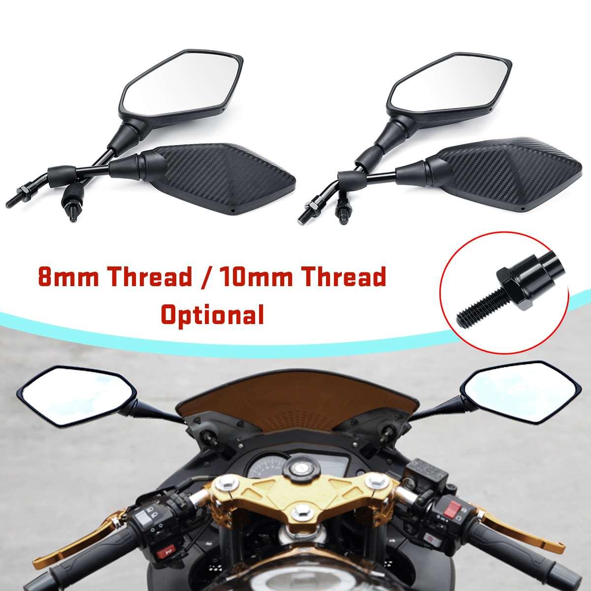 1 Paar 8mm 10mm Universal Motorrad Spiegel Roller E-bike Rückspiegel Electrombile Zurück Seite Konvexen Spiegel Carbon Faser Wir Nehmen Kunden Als Unsere GöTter