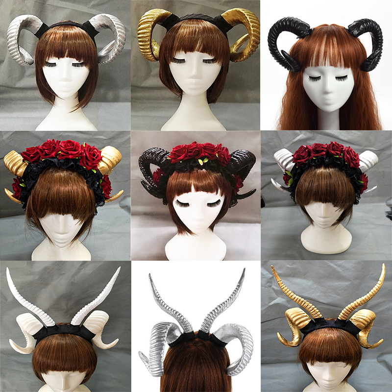 Handmade Sheep Horn Headband Hairband Accessory Demon Evil Gothic Lolita Cosplay Halloween Headwear Prop