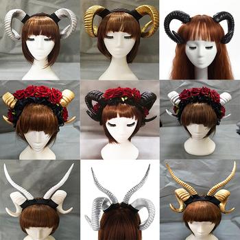 Handmade owca róg pałąk Hairband akcesoria Demon zło Gothic Lolita Cosplay Halloween nakrycia głowy Prop tanie i dobre opinie Kostiumy Demon Evil WOMEN Z tworzywa sztucznego one size