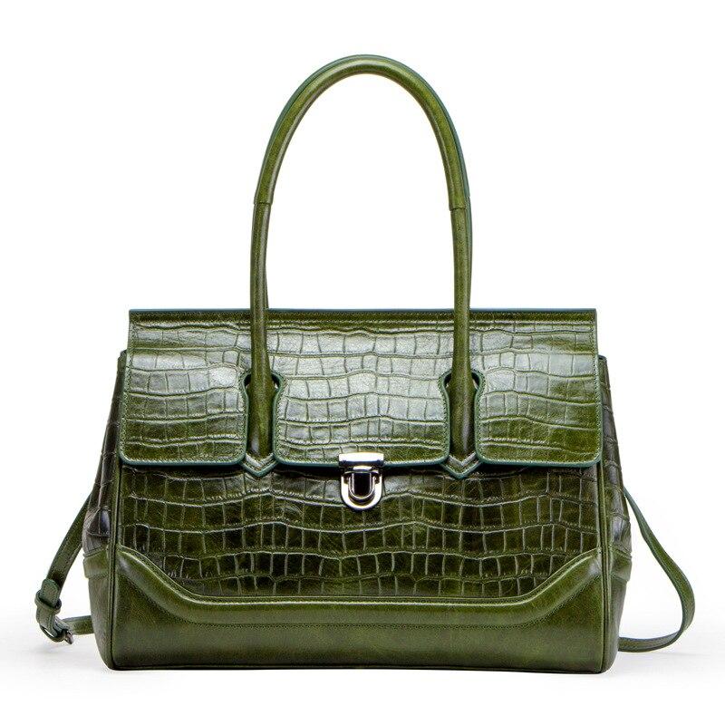 Dames Green Mode Bandoulière Femmes 2019 Sacs Véritable De Madame En Emballages Grain Luxe À Crocodile Main Sac Totes Cuir Haut poignée TRRqf
