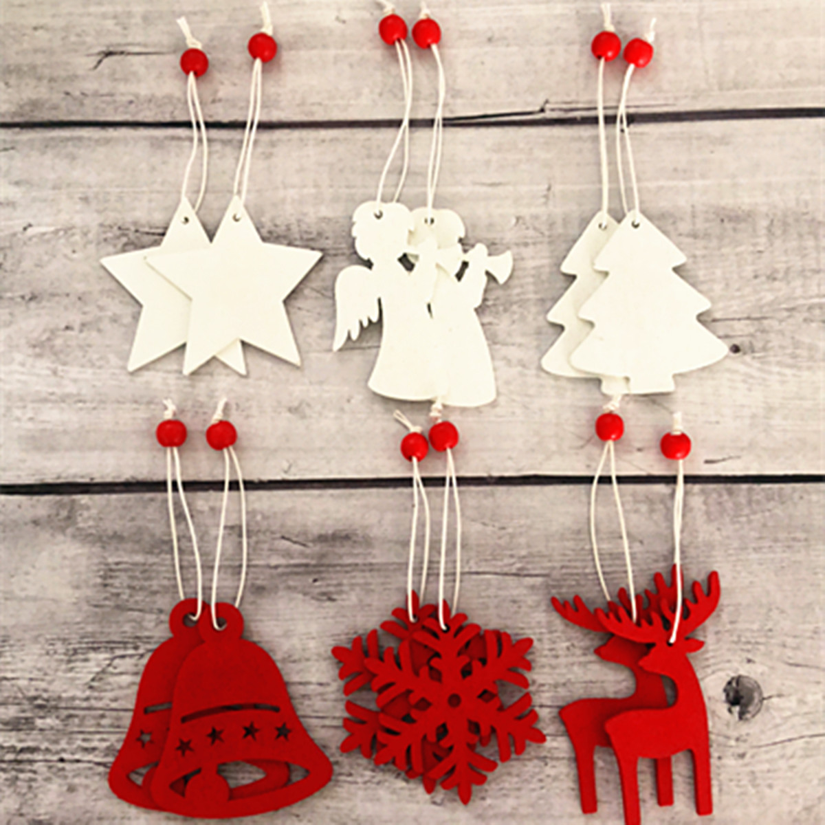 Pack Of 10pcs Wooden Christmas Decoration Ornaments Pendants For  Festival Merry Tree