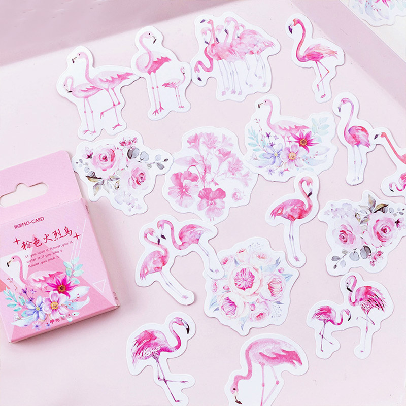 Kawaii Stationery Stickers Cute Flamingo Stickers Creative Adhesive Label Stickers For Kids DIYs Diary Scrapbooking Supplies