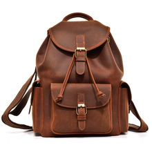 Men vintage crazy horse leather backpack Unisex cow  Laptop rucksack Women Thick real school bag casual