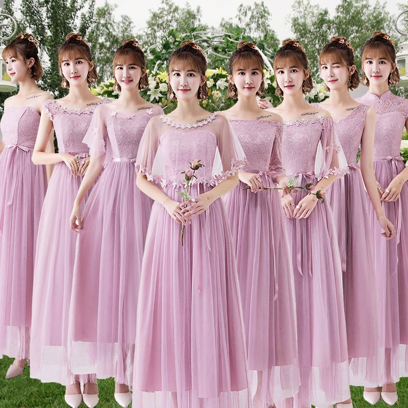 Maid Of Honor Fashion Lace Dresses Appliques Net Yarn Bridesmaid Dresses Women Formal Party Long Gowns