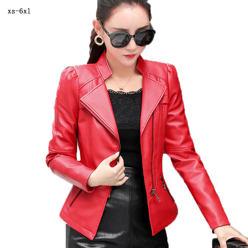 2019 Plus Size XS 6XL Motorcycle   Leather   Women Jacket Zipper Black Red Artificial   Leather   Short Coat Autumn Slim Coat Ladies H59