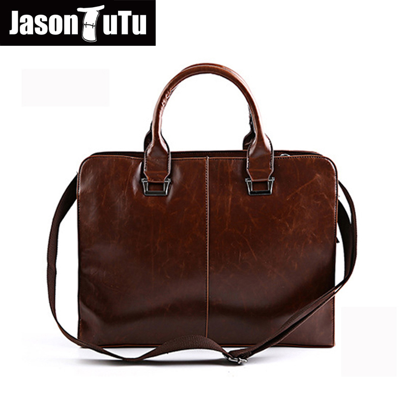 JASON TUTU   Business Men Leather Briefcases Men Messenger Bag Laptop Briefcase Business Bag Handbag Men