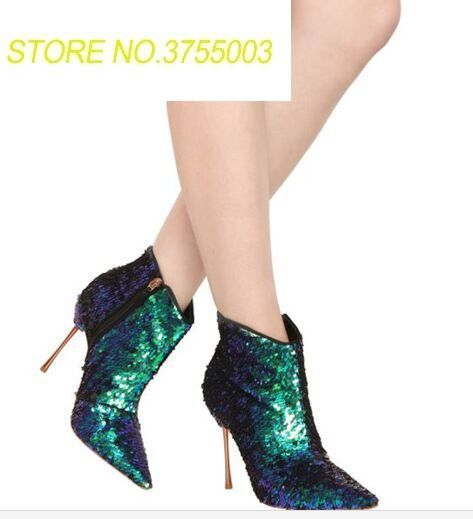 2018 Newest Sequined Wedding Party Dress Shoes Women Pointed Toe High Heel Booties Mujer Bling Bling Multicolored Ankle Boots2018 Newest Sequined Wedding Party Dress Shoes Women Pointed Toe High Heel Booties Mujer Bling Bling Multicolored Ankle Boots