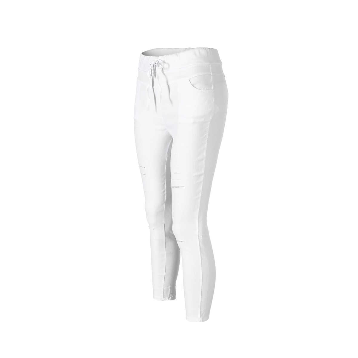 Yeni kadın sıska yırtık diz delik bandaj kot katı Ciolor moda pantolon yüksek bel streç ince kalem pantolon