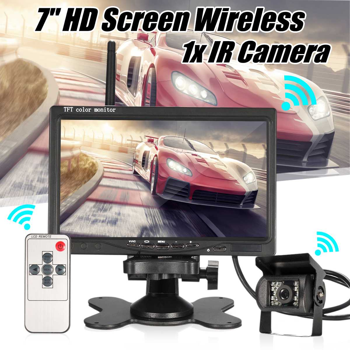 12V 24V 7inch Car Wireless Trailer HD Monitor Rear View IR Reversing Camera Bus Truck Wide View Angles Waterproof