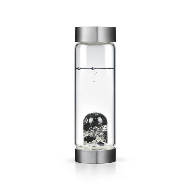 Glass Water Bottle with Crystal