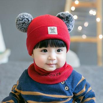 2 шт детская вязаная шапка шарф набор для девочек мальчиков детские зимние ушные