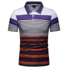 2019 Free Shipping New Summer Men's Short Sleeve Polo Shirt Male Contrast Color Stripe Print Slim Lapel Casual Mens Polo Shirt недорго, оригинальная цена