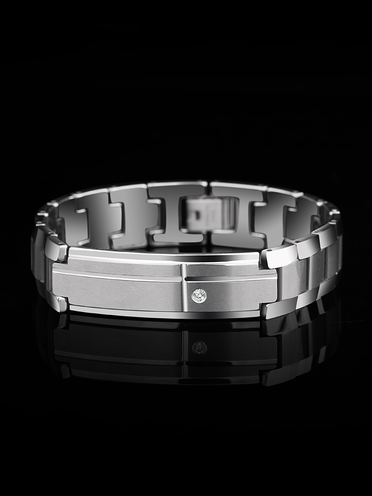 Nouveauté Bracelets à maillons en carbure de tungstène massif en argent avec pierres CZ brossé longueur de finition 19.5 CM