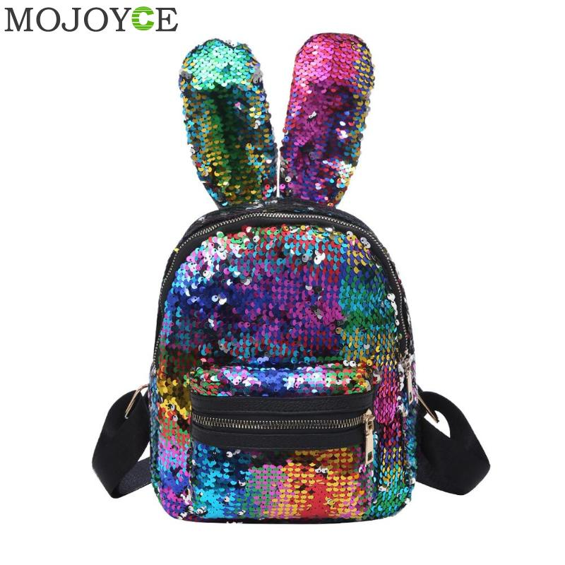 Fashion Shining Double-sided Sequins School Backpack Women Rabbit Ears Rucksack Girl Cartoon Label Purse Zipper Shoulder BagFashion Shining Double-sided Sequins School Backpack Women Rabbit Ears Rucksack Girl Cartoon Label Purse Zipper Shoulder Bag