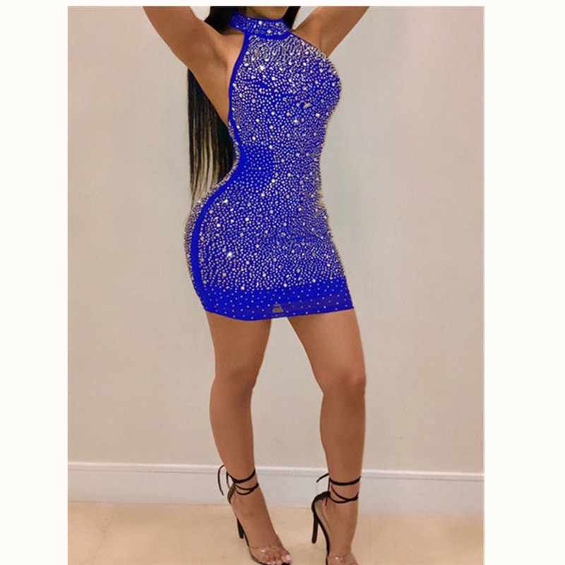 2019 Sexy Vrouwen Lady Bling Backless Bandage Bodycon Avondfeest Club Korte Mini Jurk Plus Size S-3XL
