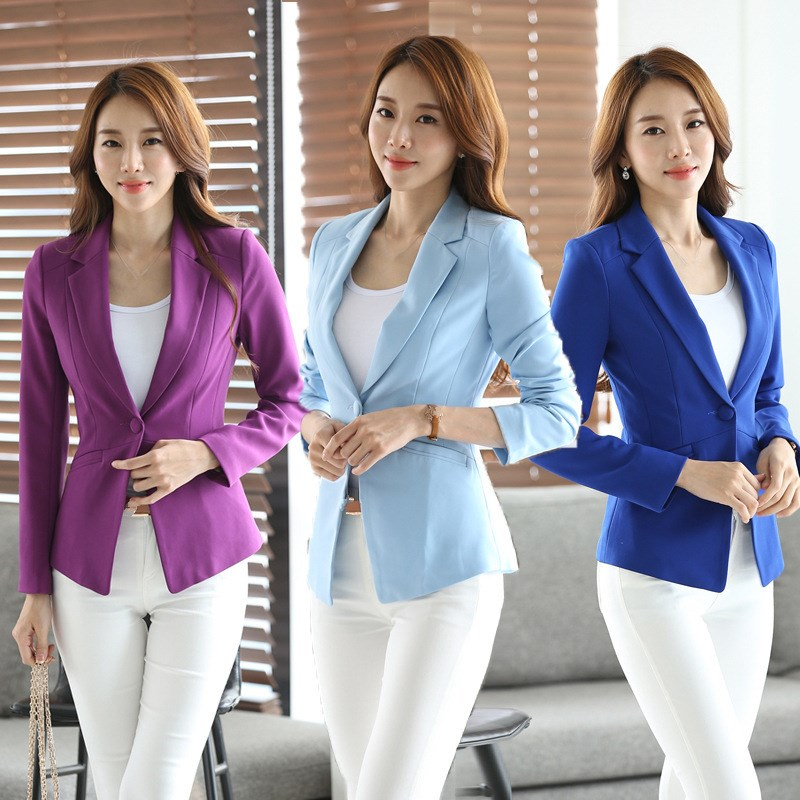 2019 Spring Ol Long Sleeve Women Suits Single Button Blazers Solid Purple Red Light Blue Slim Fit Outwear