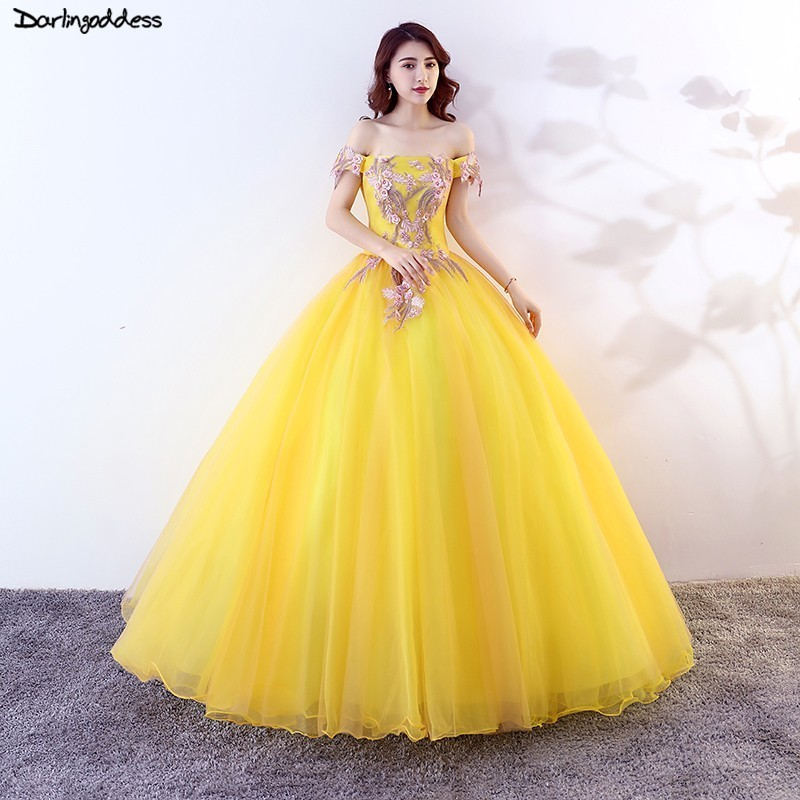 Vestidos De 15 Anos 2019 Cheap Ball Gown Off Shoulder Lace Yellow Tulle Princess Quinceanera Dresses For Sweet 16 Years