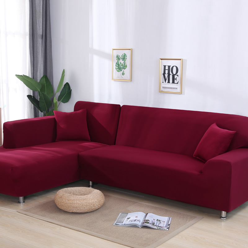 Solid Color Sofa Covers For Living Room Sofa Towel Slip-resistant Sofa Cover Strech L-shaped Sofa Needs 2 Pieces