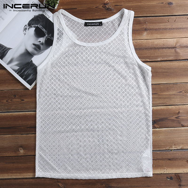 INCERUN Fashion Sexy Men Tank Tops Sleeveless See Through Slim Fit Mesh Vest Men Nightclub Party Transparent Dance Tops Men 2019
