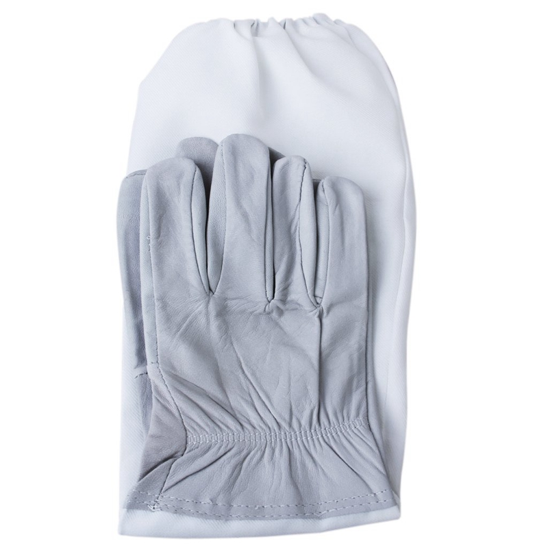 1 Pair of Gloves with Protective Sleeves ventilated Professional Anti Bee for Apiculture Beekeeper gray and White in Oven Mitts Oven Sleeves from Home Garden