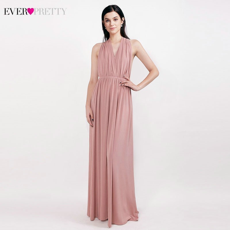 Blush Pink Chiffon   Bridesmaid     Dresses   Long Ever Pretty A-Line Sleeveless Halter Formal   Dresses   EZ07708 Bruidsmeisje Jurken 2019