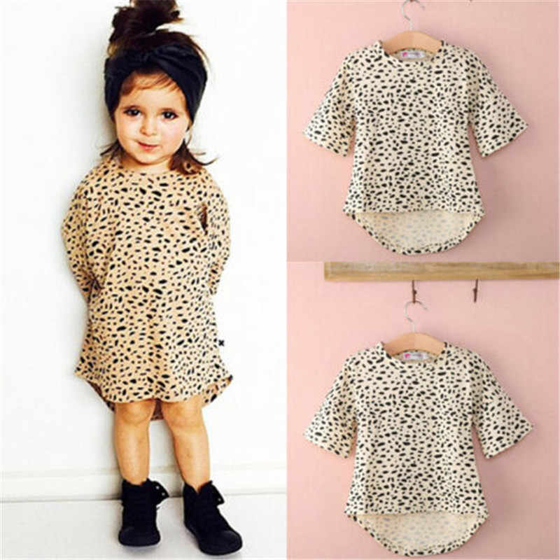 0-5T Cute Baby Girls Dress 3/4 Sleeved Leopard Print Baby Girl Dress Cotton Loose Dress Girls Three Quarter Newborn Baby Clothes