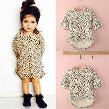 0-5T Cute Baby Girls Dress 3/4 Sleeved Leopard Print