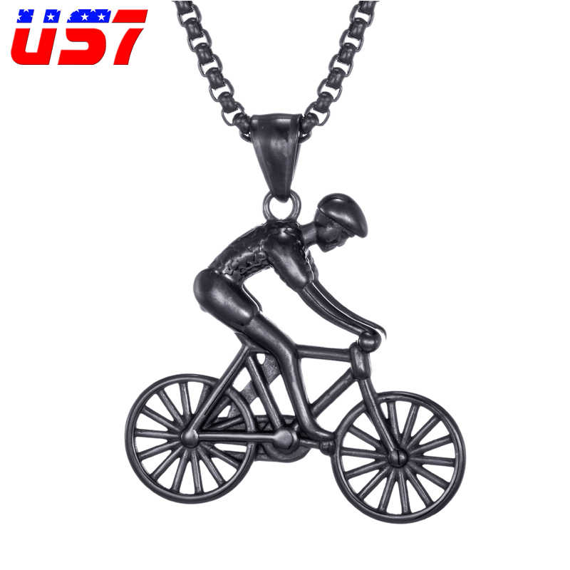 US7 Bike Pendant men Necklace Stainless Steel Cycling Necklace  Charms Body Bicycle Sports Necklace Cycling Jewelry  Gift