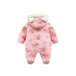 Image 3 - new born baby girl winter clothes 6m cute set romper baby fleece winter thick warm baby rompers newborn cotton coveralls 3 month