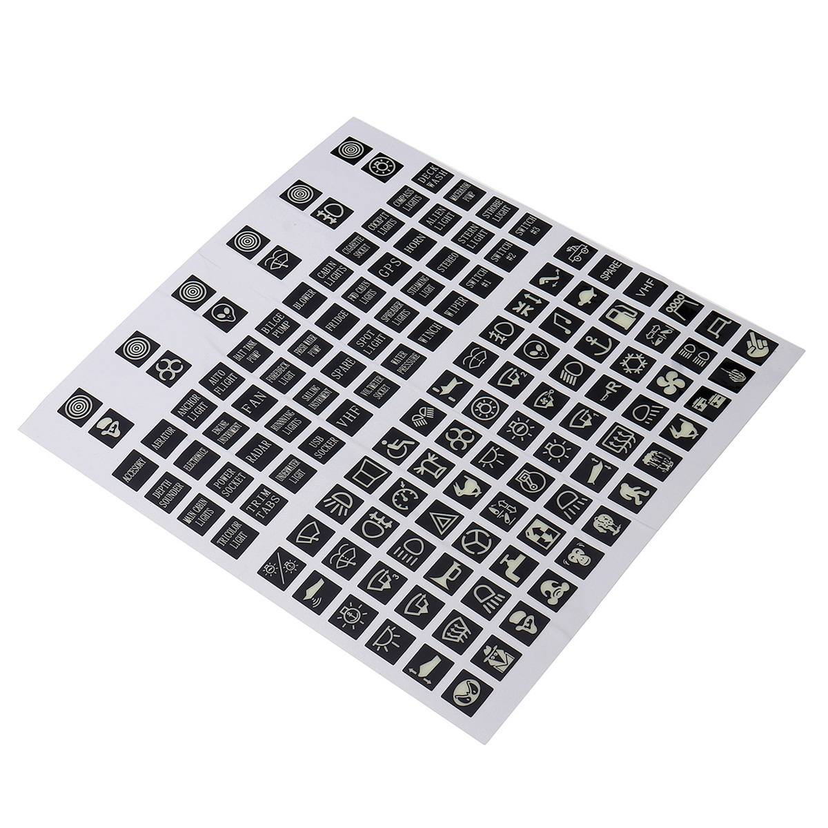 45pc Rocker Switch Label Decal Circuit Fuse Panel Sticker Car Marine Boat
