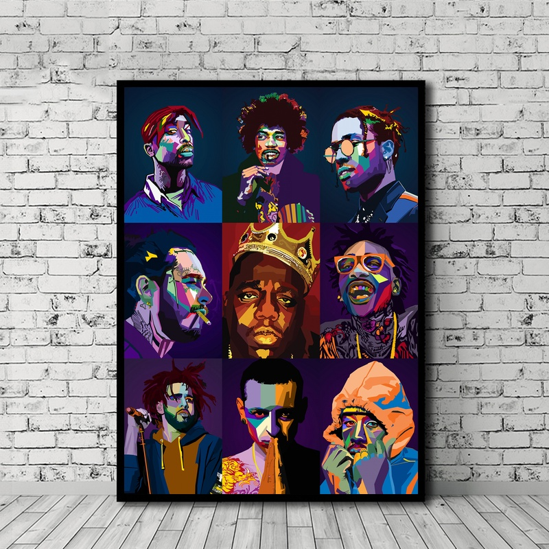 Rapper Collection HIPHOP Music Star Poster Canvas Print Wall Art Home Decor No Frame action figure pokemon