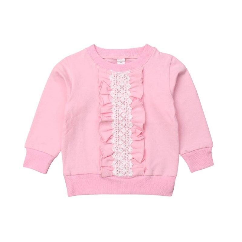 2019 Pudcoco Marke Baby Mädchen Sweatshirts Spitze Floral Print Kleinkind Rüsche Pullover Top Frühling Herbst Langarm Sweatshirts Freigabepreis