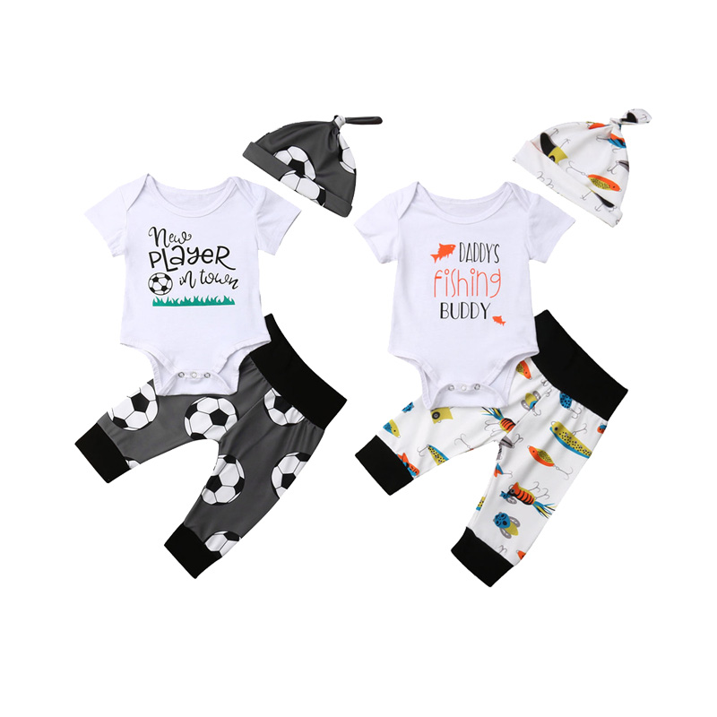 Casual Tops Pants Leggings Hat Outfits Newborn Baby Boys Girls Set Clothes 0-18M