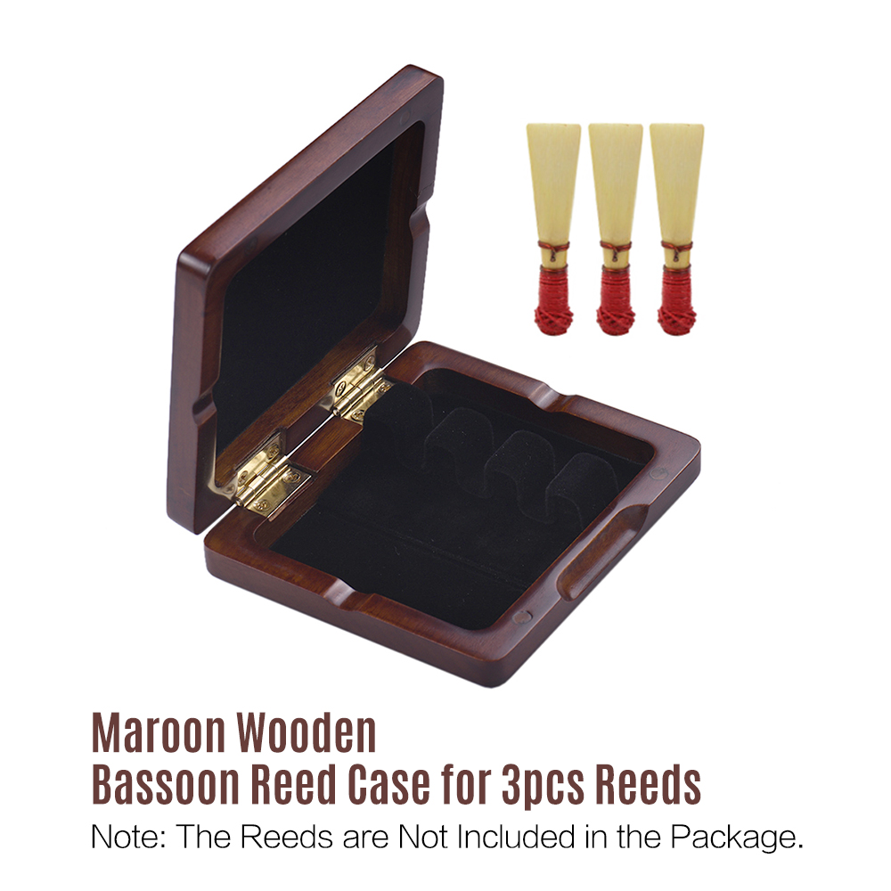 Wooden Bassoon Reed Case Maroon Hand Carved Bassoon Reed Box For 3pcs Reeds Woodwind Instruments Accessories