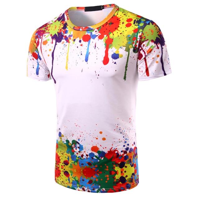 Hemiks hombres Unisex manga corta 3D acuarela colorida pintura camiseta de verano cuello redondo de manga corta Casual camisetas de hombre