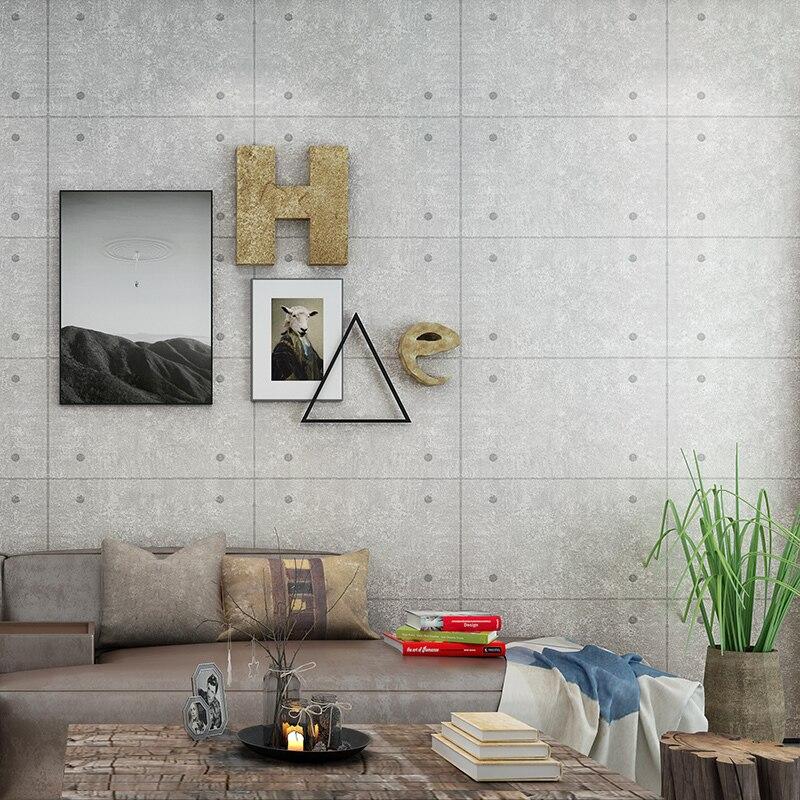Bar salon Restaurant café vent industriel papier peint gris fausse brique carré béton mur Rivet fond papier peint