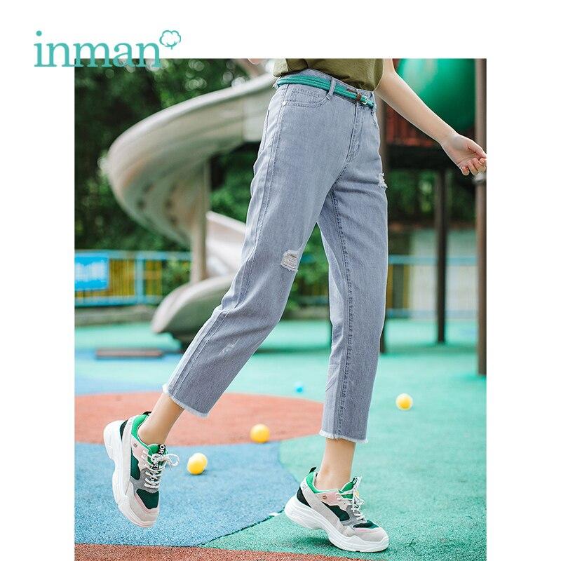 INMAN Summer High Waist Retro Ripped Korean Casual Slim Women Pencil Jeans