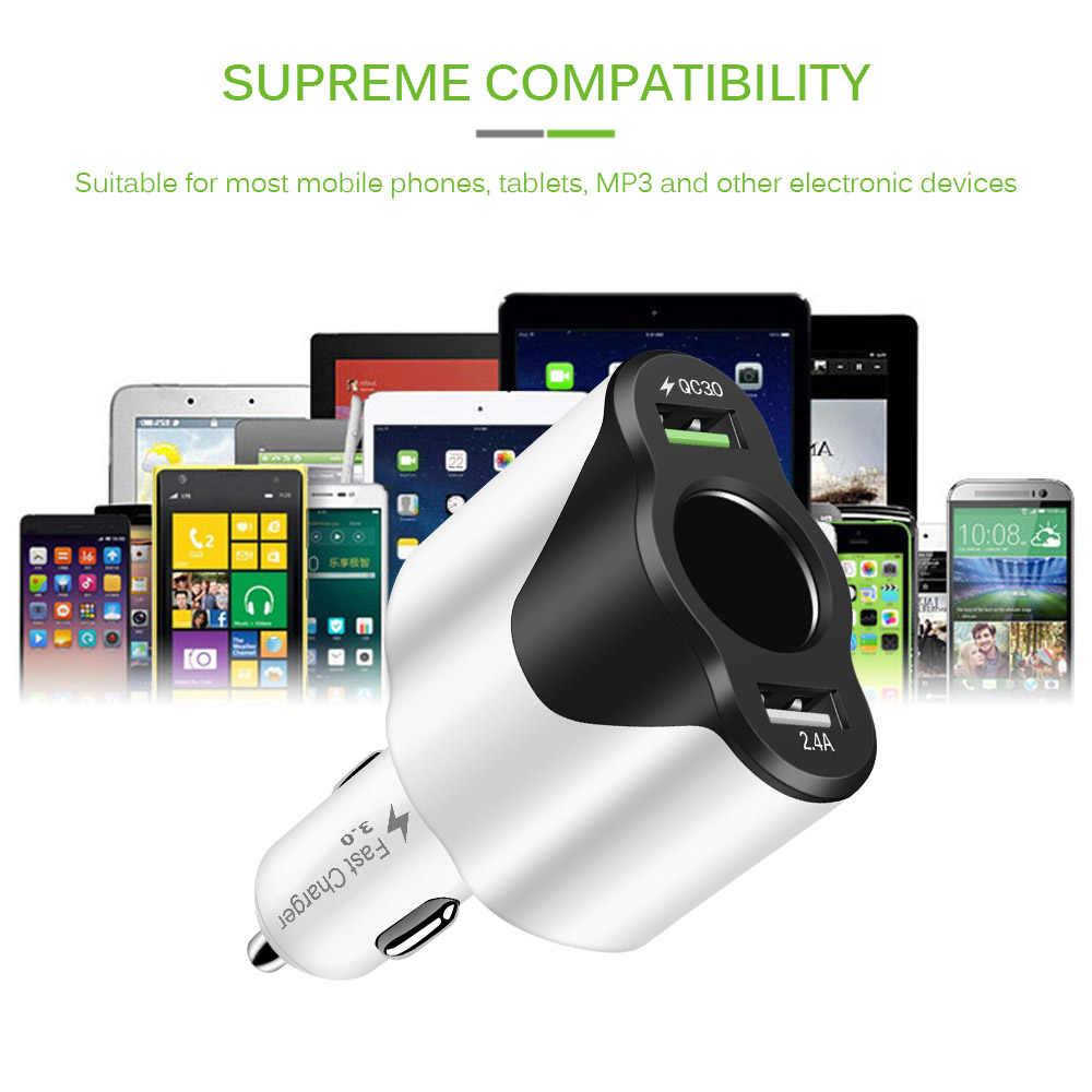 سيارة ولاعة السجائر 120 W USB سريعة محول للشحن الفولتميتر الفاصل ل هاتف لوحي GPS DVR سريع شحن أداة