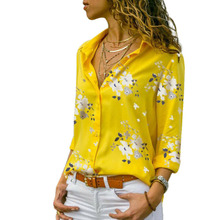 2019 Floral Print Women Shirts Summer Autumn Casual Turn-down Collar Chiffon Blouse Women Top Long Sleeve Blouse Femme Shirt