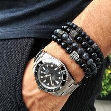 Bracelet Men/stone/bracelet 8mm Natural Stone Lava bead Beaded Bracelets for Men Micro Pave Bracelet male Jewelry Gifts homme wml luxury natural stone bead men bracelet micro pave cz eyes charm bracelets