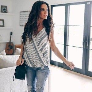 Image 5 - Frauen Sommer Kleidung Weste Top Sleeveless Beiläufige Lose Striped Tank Tops V ausschnitt Regelmäßige Größe Pullover Polyester Camis
