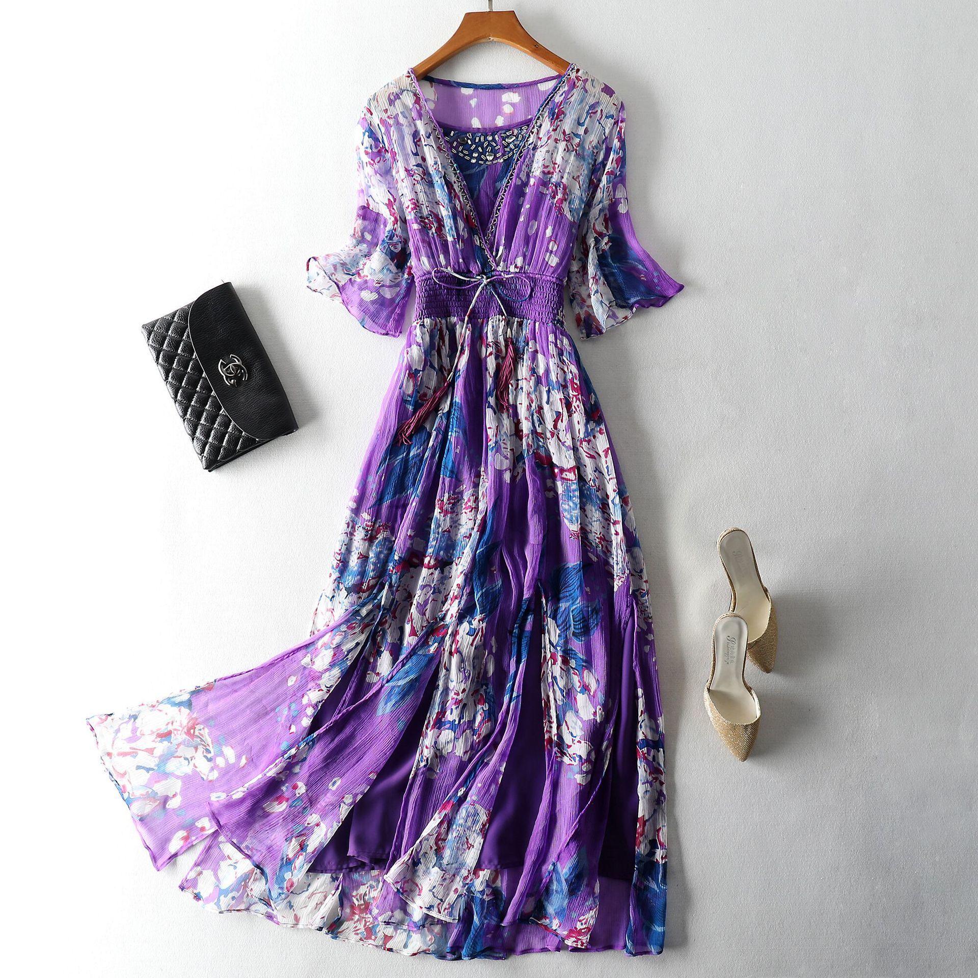 High Grade Dress 2019 Newest Summer Purple Elegant Silk Dress Women V-neck Sexy Holiday Beach Bohemian Dress Vestidos