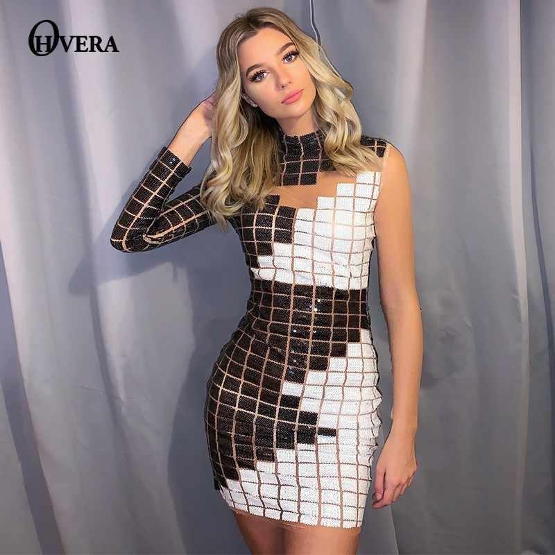 Ohvera 한 어깨 격자 무늬 스팽글 파티 드레스 여성 중공 섹시 드레스 Turtlenck 미니 가을 겨울 드레스 Vestidos