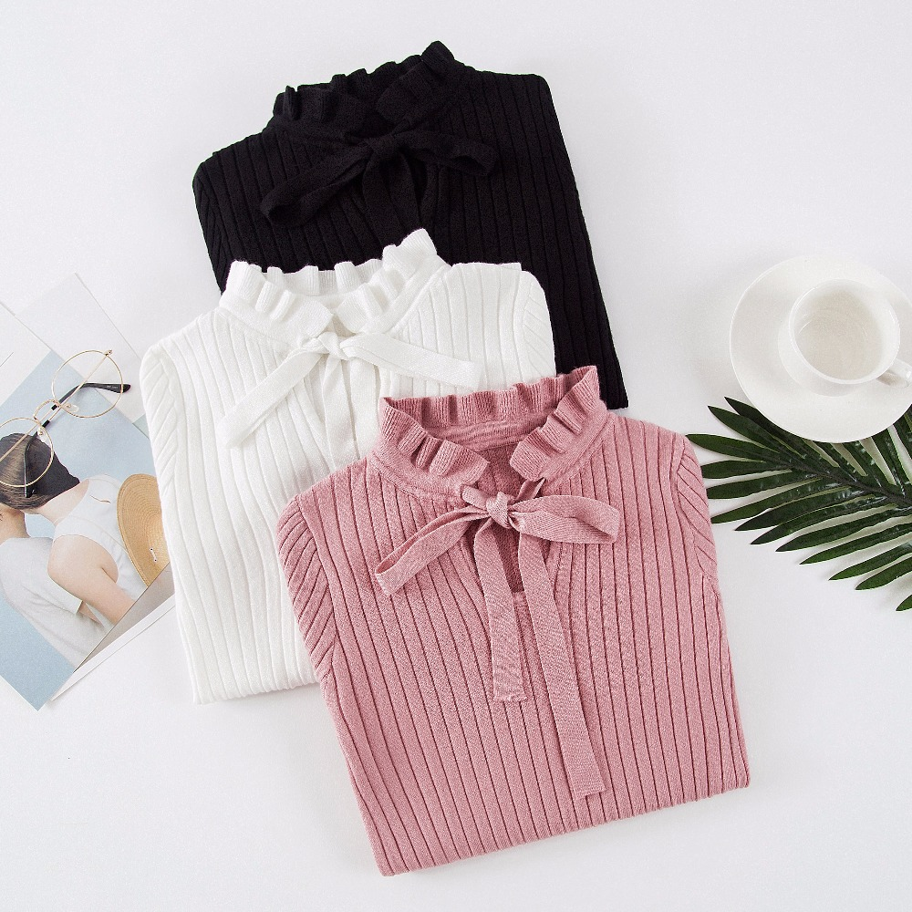 Korean Slim Knitted Sweater Female Vintage Lace Up Ruffle Knitting Pullover Flare Long Sleeve Winter Sweater Women Pullovers