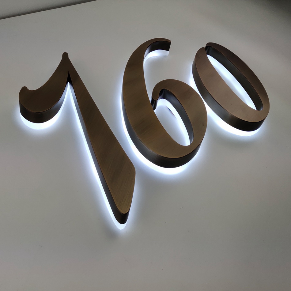 Aluminum Stainless Steel Metal Acrylic Bronze Solid Halo Li Led Building Logo Sign