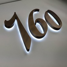 H 35cm Aluminum stainless steel metal acrylic Bronze solid halo li led Building logo sign