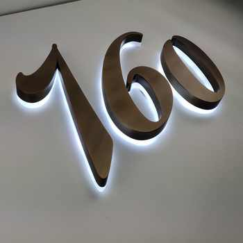 H 35cm Aluminum stainless steel metal acrylic Bronze solid halo li led Building logo sign - SALE ITEM All Category